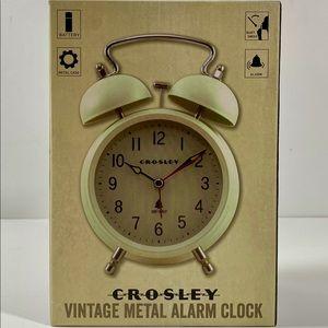 NWT Crosley Vintage Metal Alarm Clock